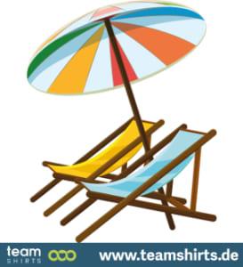 Liegestuhl mit Sonnenschirm