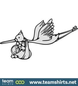 Storch mit Baby