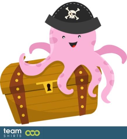 Schatz mit Piratenkrake